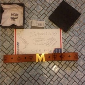 Mcm cognac red reversible gold m buckle belt